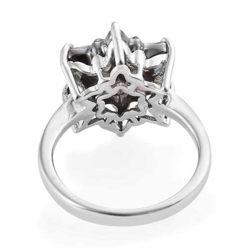 J Francis - Crystal From Swarovski - Swarovski Crystal Silver Night Stellaris Cut Ring in Platinum Overlay Sterling Silver