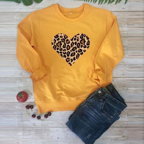 Kris Ana Leopard Heart Sweatshirt (Size M/ 10-12) - Mustard