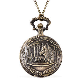 Set of 2 - STRADA Japanese Movement Wolf Pattern Pocket Watch with Chain (Size 31) in Antique Bronze
