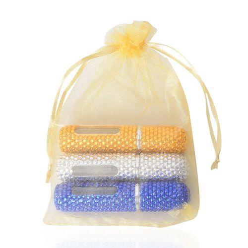 3 Piece Set - Blue, Silver and  Light gold, Colour Pocket Perfume Bottles (Size 8.8x2 Cm)