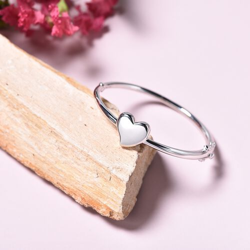 RACHEL GALLEY Rhodium Overlay Sterling Silver Kids Heart Bangle (Size 6.2), Silver wt 13.86 Gms