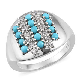 Sleeping Beauty Turquoise and Zircon Cluster Ring in Platinum Plated Sterling Silver