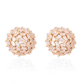 Simulated Diamond Ball Stud Earrings (with Push Back) in 18K Gold Plated