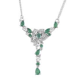 Designer Inspired- Kagem Zambian Emerald (Pear), White Topaz Necklace (Size 18) in Platinum Overlay Sterling Silver 3.500 Ct. Silver wt 7.50 Gms.