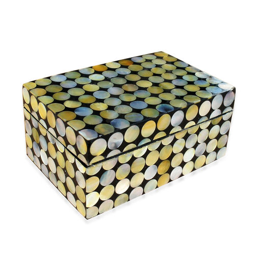 One Time Deal-Bali Collection MOP Shell Inlay Jewellery Box with Black Velvet Lining (Size 10X5X5 Cm)
