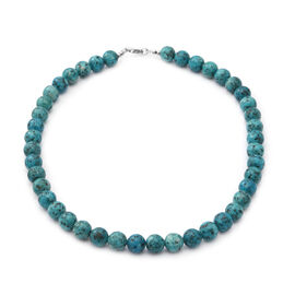 African Turquoise Beads Necklace (Size 18) in Sterling Silver 303.00 Ct.