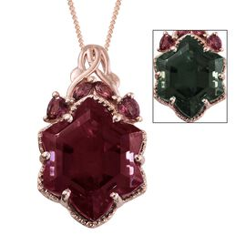 Alexandria Quartz and Rhodolite Garnet Pendant with Chain in Rose Gold Overlay Sterling Silver 16.25