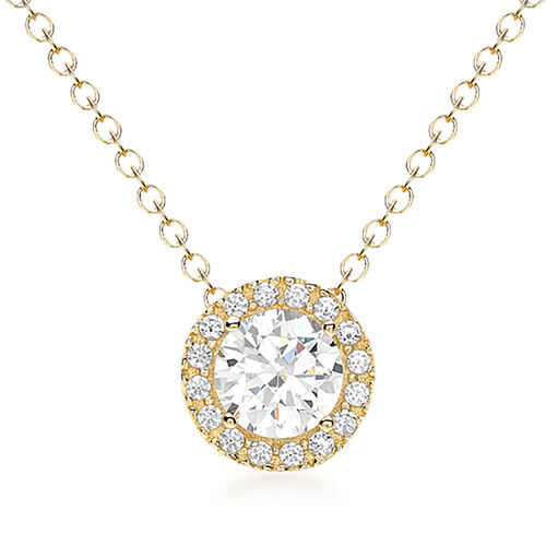 9K Yellow Gold Cubic Zirconia Sliding Belcher Chain Halo Necklace (Size 18)