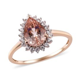 9K Rose Gold AA Marropino Morganite and Natural Cambodian Zircon Ring 2.10 Ct.