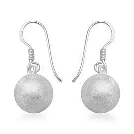 Matt Finish Drop Earrings with Hook in Sterling Silver 3.43 Grams