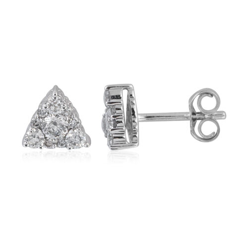 New York Close Out - 14K White Gold AGI Certified Diamond (I1/ G-H) (Rnd) Stud Earrings (with Push Back) 0.500 Ct.