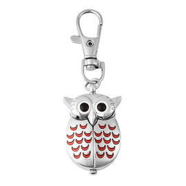 STRADA Japanese Movement Water Resistant Owl Shaped Keychain Watch in Silver Tone - Red