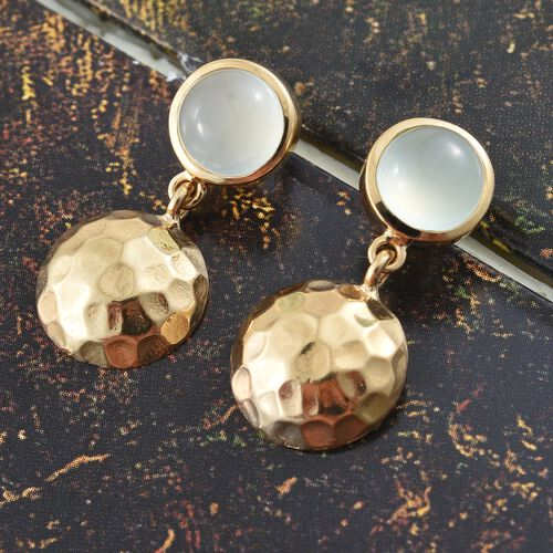Aqua Chalcedony (Rnd) Earrings (with Push Back) in 14K Gold Overlay Sterling Silver 2.750 Ct.