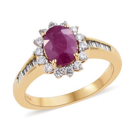 ILIANA 18K Yellow Gold AAA Burmese Ruby (Ovl), Diamond (SI/G-H) Ring 1.900 Ct.