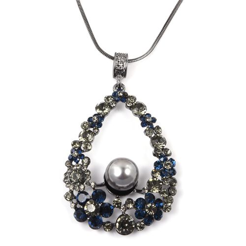 Grey and Blue Austrian Crystal (Rnd), Simulated Pearl Pendant with Chain (Size 30 with 2 inch Extender) in Black Plated