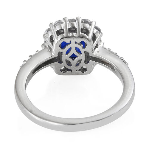 Blue Spinel (Cush), Natural Cambodian Zircon Ring in Platinum Overlay Sterling Silver 2.250 Ct.