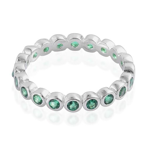 Simulated Green Spinel Rnd Full Eternity Ring In Rhodium