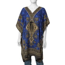 Royal Blue Colour Tribal Printed V- neck Kaftan (One Size; 91.44x104.14 Cm)