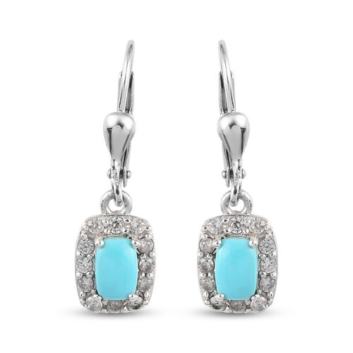 Arizona Sleeping Beauty Turquoise and Natural Cambodian Zircon Lever Back Halo Drop Earrings in Plat