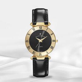 Jacques Du Manoir Swiss Movement Black Dial Water Resistant Coupole Watch with Black Strap - 33mm