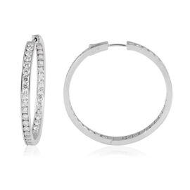 ELANZA Simulated Diamond Hoop Earrings in Rhodium Plated Sterling Silver 12.5 Grams