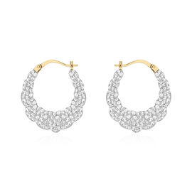 Hatton Garden One Time Deal- 9K Yellow Gold White Austrian Crystal Studded Creole Hoop Earrings