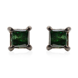 9K White Gold Green Diamond (Sqr) Stud Earrings (with Push Back) 0.40 Ct.
