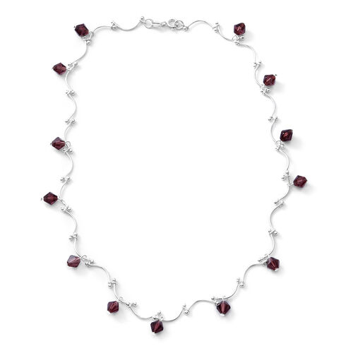Designer Inspired- Plum Crystal Necklace (Size 16.5) in Sterling Silver , Silver wt 10.50 Gms.