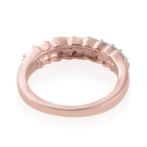 Diamond (Bgt) Band Ring in Rose Gold Overlay Sterling Silver 0.250 Ct.