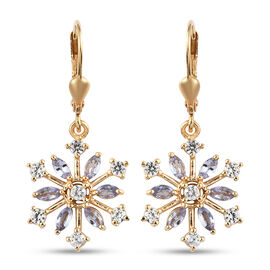 Tanzanite and Natural Cambodian Zircon Snowflake Lever Back Earrings in 14K Gold Overlay Silver 1.97