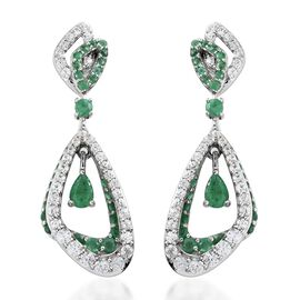 5.50 Ct AA Kagem Zambian Emerald and Natural Cambodian Zircon Dangle Earrings in Silver 9.35 grams