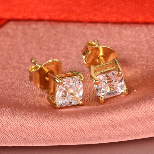 J Francis 14K Yellow Gold Overlay Sterling Silver Stud Earrings (with Push Back) Made with SWAROVSKI ZIRCONIA 2.31 Ct.