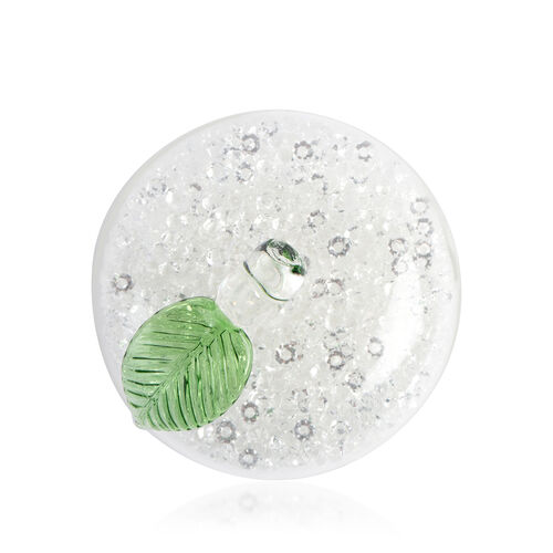 White Crystals filled Glass Apple Figurine