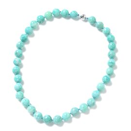 Russian Amazonite (Rnd 11-13mm) Beads Necklace (Size 20) in Rhodium Overlay Sterling Silver 453.100 Ct.