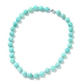 Russian Amazonite (Rnd 11-13mm) Beads Necklace (Size 20) in Rhodium Overlay Sterling Silver 453.100