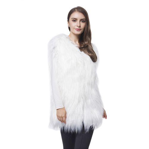 Designer Inspired Super Soft White Colour Faux Fur Gilet (Size 65X50 Cm)