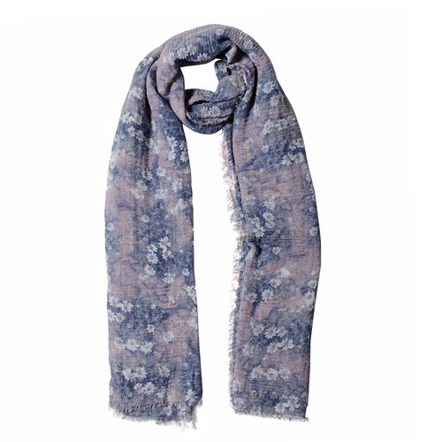 Dusty Pink Colour Scarf with Small White and Blue Flower Pattern ( Size 180x90 Cm)