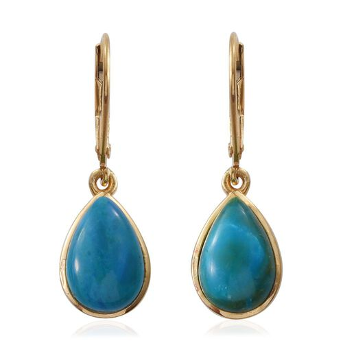 Natural Rare Opalina (Pear) Lever Back Earrings in 14K Gold Overlay Sterling Silver 5.250 Ct.