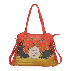 SUKRITI PERIMER Super Soft Genuine Leather Handprint RFID Protected Blooming Face Shoulder Bag with