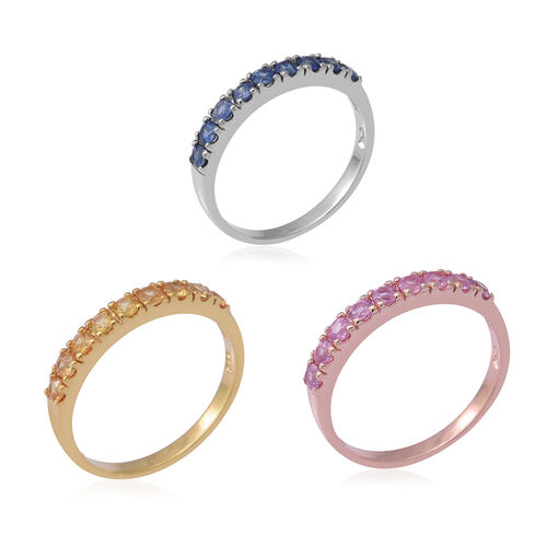 3 Piece Set - Kanchanaburi Blue Sapphire, Madagascar Pink Sapphire and Yellow Sapphire Ring in Rhodium, Yellow and Rose Gold Overlay Sterling Silver 2.16 Ct, Silver wt 6.00 Gms