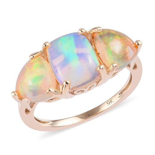 2.75 Ct Ethiopian Welo Opal Trilogy Ring in 9K Gold