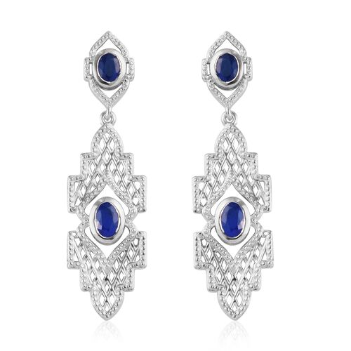 Tanzanian Blue Spinel Dangle Earrings (with Push Back) in Platinum Overlay Sterling Silver 1.75 Ct,