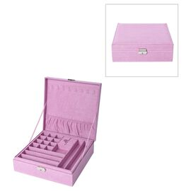 2 Tier Velvet Jewellery Box with Lock and Removable Tray (Size 26.3x26.3x8.5 Cm) - Pink