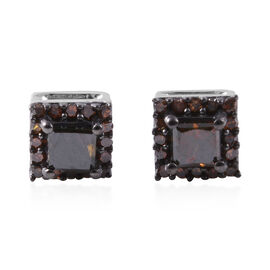 0.50 Ct Red Diamond Stud Earrings with Push Back in 14K White Gold