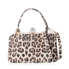 Boutique Collection Chic Leopard Print with White Crystal Tote Bag (SIze 26x15x12.5 Cm)