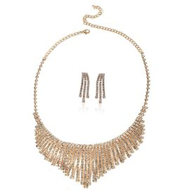 2 Piece Set - White Austrian Crystal (Rnd) Necklace (Size 22) and Waterfall Earrings (with Push Back) in Yellow Gold Tone