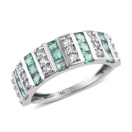 9K White Gold Princess Cut Kagem Zambian Emerald and Natural Cambodian Zircon Ring 1.150 Ct.