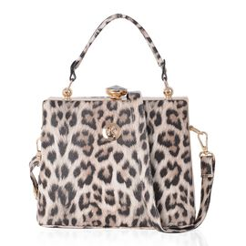 Boutique Collection Brown Colour Leopard Pattern Tote Bag with Removable Shoulder Strap (Size 22x18x