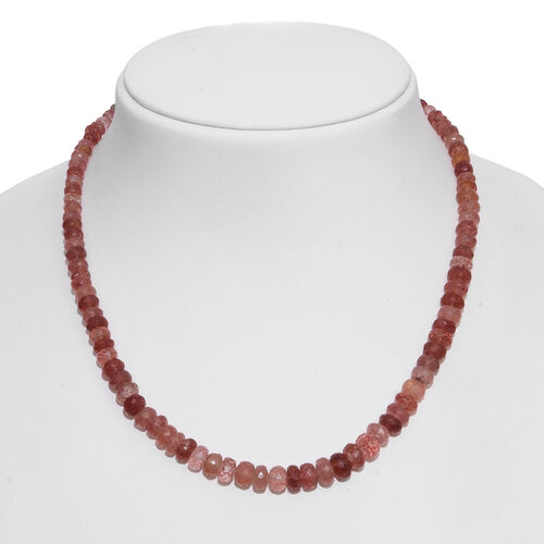 Very Rare Brazilian Pink Lepidocrocite Natural Quartz (Rnd) Beads Necklace (Size 18) with Magnetic Clasp in Rhodium Plated Sterling Silver 150.000 Ct.