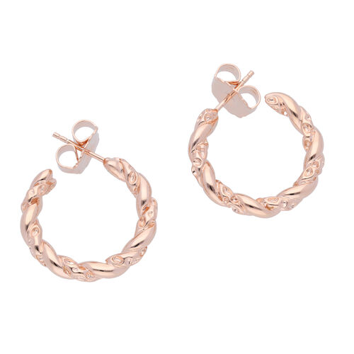RACHEL GALLEY Rose Gold Plated Sterling Silver Lattice Twisted Hoop Earrings (with Push Back), Silver wt 9.35 Gms